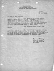 2nd lt norma m raley letter of intent to marry 1st lt wayne e downing 29 june 1944